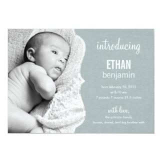 Invitación refinada del nacimiento del bebé de la invitación 12,7 x 17,8 cm