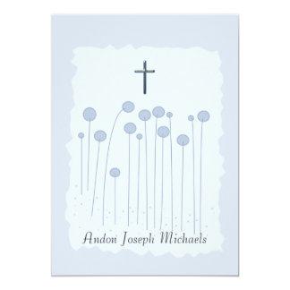 Invitación religiosa azul preciosa invitación 12,7 x 17,8 cm