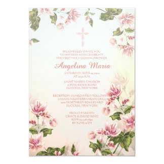 Invitación religiosa de los Dogwoods rosados