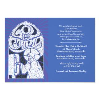 Invitación religiosa del vitral de Jesús Invitación 12,7 X 17,8 Cm