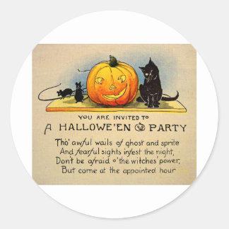 Invitación retra de Halloween del kitsch del Pegatina Redonda