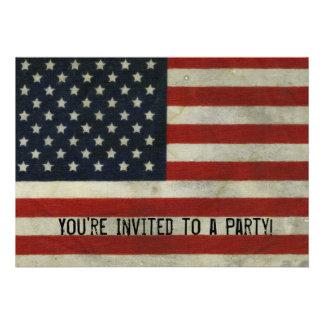 Invitación retra de la bandera americana