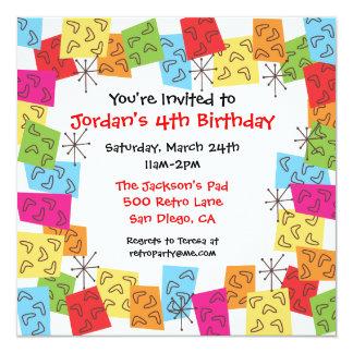 Invitación retra de la fiesta de cumpleaños de los invitación 13,3 cm x 13,3cm