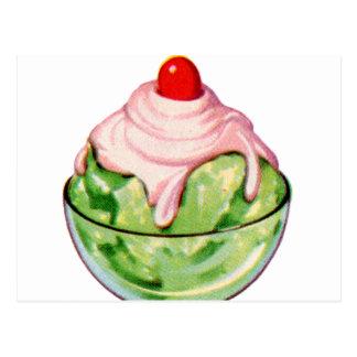Invitación retra de la fuente de soda del helado postal