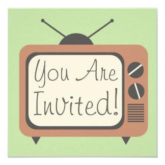 Invitación retra de la televisión invitación 13,3 cm x 13,3cm