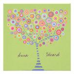 Invitación retra del árbol del círculo de la verde