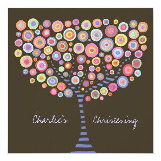 Invitación retra del árbol del círculo del bautizo