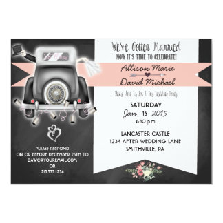 Invitación retra del banquete de boda del poste de