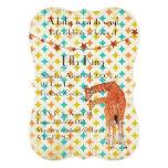Invitación retra del bebé de las jirafas invitación 12,7 x 17,8 cm