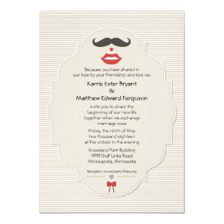Invitación retra del boda de los labios del bigote