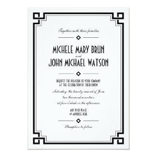 Invitación retra del boda del marco del art déco