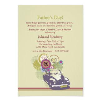 Invitación retra del día de padre del coche