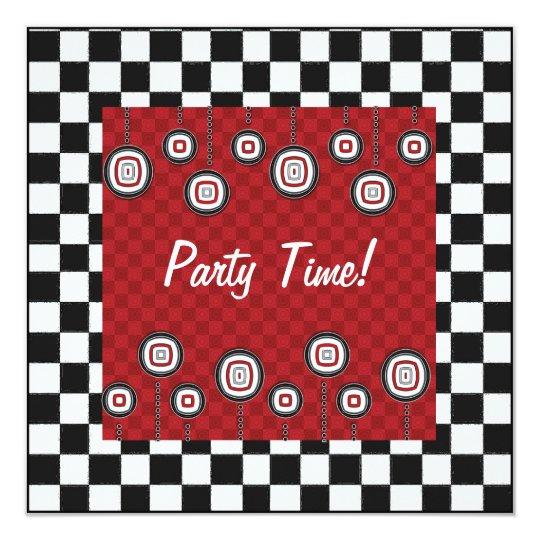 invitación retra del fiesta 50s en blanco y negro