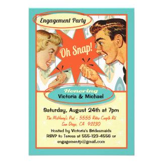 Invitación retra del fiesta de compromiso