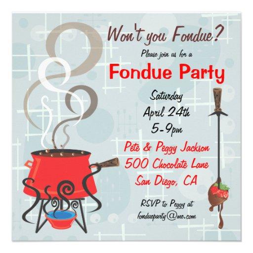 """Invitación retra del fiesta de la """"fondue"""" de choc"""