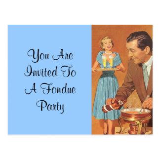 """Invitación retra del fiesta de la """"fondue"""" de la d postal"""