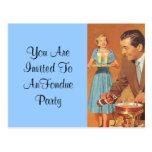 """Invitación retra del fiesta de la """"fondue"""" de la postales"""