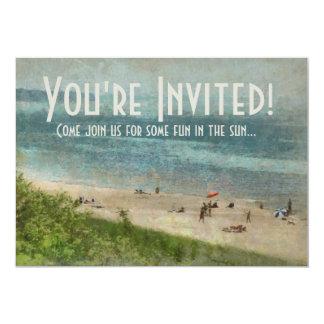 Invitación retra del fiesta de la playa del lago