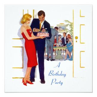 Invitación retra del fiesta de la torta de invitación 13,3 cm x 13,3cm
