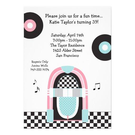 invitación retra del fiesta de los años 50