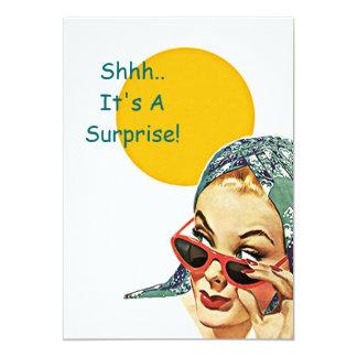 Invitación retra del fiesta de sorpresa de la sol invitación 12,7 x 17,8 cm
