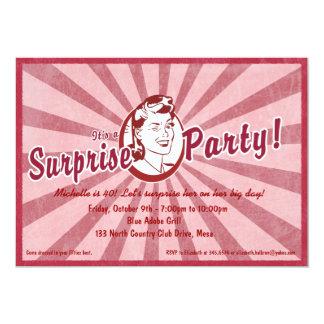 Invitación retra del fiesta de sorpresa del wow -