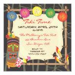 Invitación retra del fiesta de Tiki con el marco