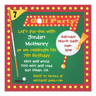 Invitación retra del fiesta del minigolf