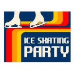 invitación retra del fiesta del patinaje de hielo  tarjetas postales