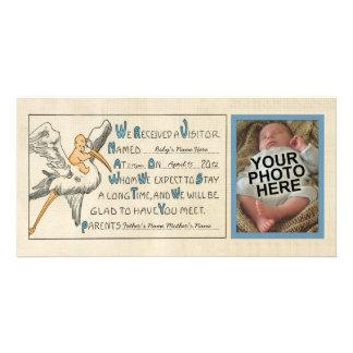 Invitación retra del nacimiento de los padres del tarjeta con foto personalizada