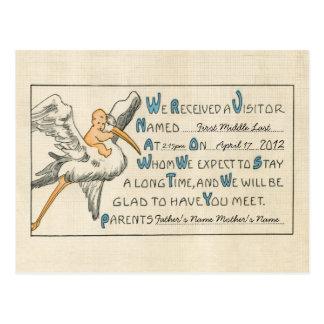 Invitación retra del nacimiento de los padres del postal