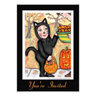 Invitación retra del traje de Halloween del gato n