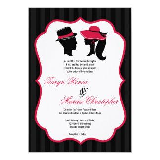 invitación retra elegante del boda de los gorras