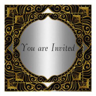 Invitación retra negra de plata del fiesta del oro