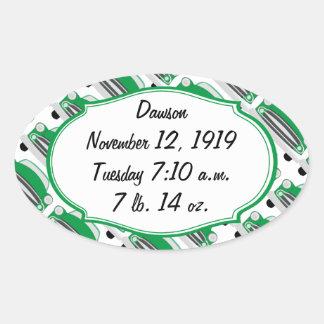 Invitación retra verde dulce de la fiesta de pegatinas de óval personalizadas