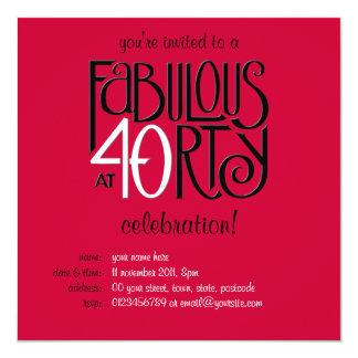 Invitación roja blanca negra del cumpleaños 40