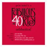 Invitación roja blanca negra del cumpleaños 40 fab