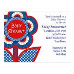 Invitación roja, blanca y azul de la fiesta de bie tarjetas postales