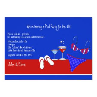 Invitación roja, blanca y azul de la fiesta en la invitación 12,7 x 17,8 cm