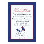 Invitación roja, blanca, y azul del boda del invitación 12,7 x 17,8 cm