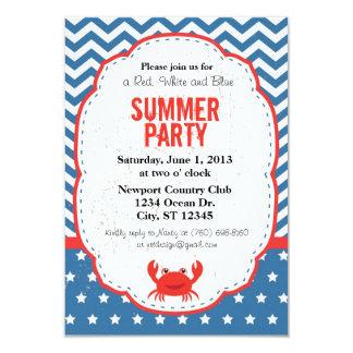 Invitación roja, blanca y azul del fiesta del