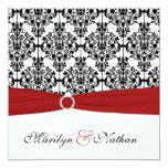 Invitación roja, blanca, y negra del boda del