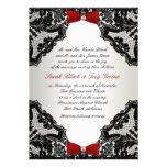Invitación roja, blanca y negra del boda del cordó