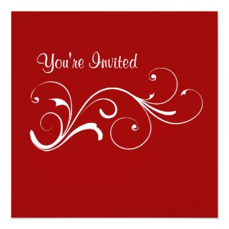 Invitación roja casual del cumpleaños del remolino