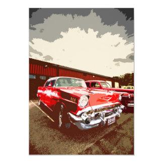 Invitación roja clásica del coche