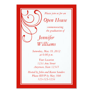 Invitación roja de encargo - Flourish elegante Invitación 12,7 X 17,8 Cm
