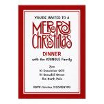 Invitación roja de la cena de las Felices Navidad Invitación 12,7 X 17,8 Cm
