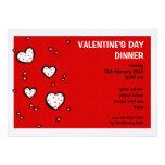 Invitación roja de la cena del el día de San Valen