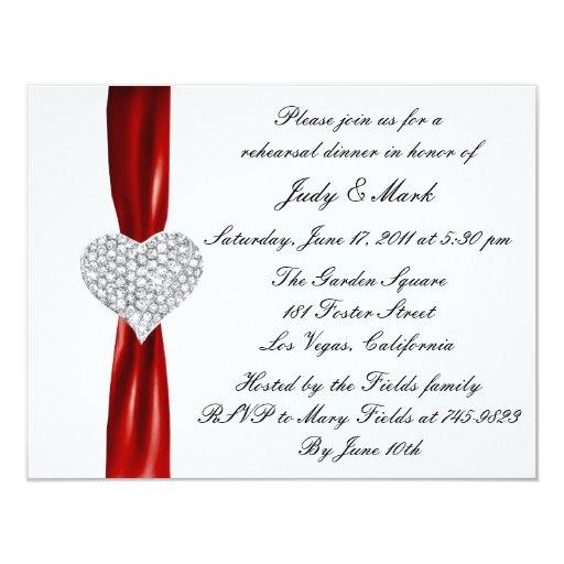 Invitación roja de la cena del ensayo del corazón invitación 10,8 x 13,9 cm