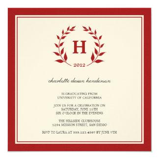 Invitación roja de la clase de la graduación del